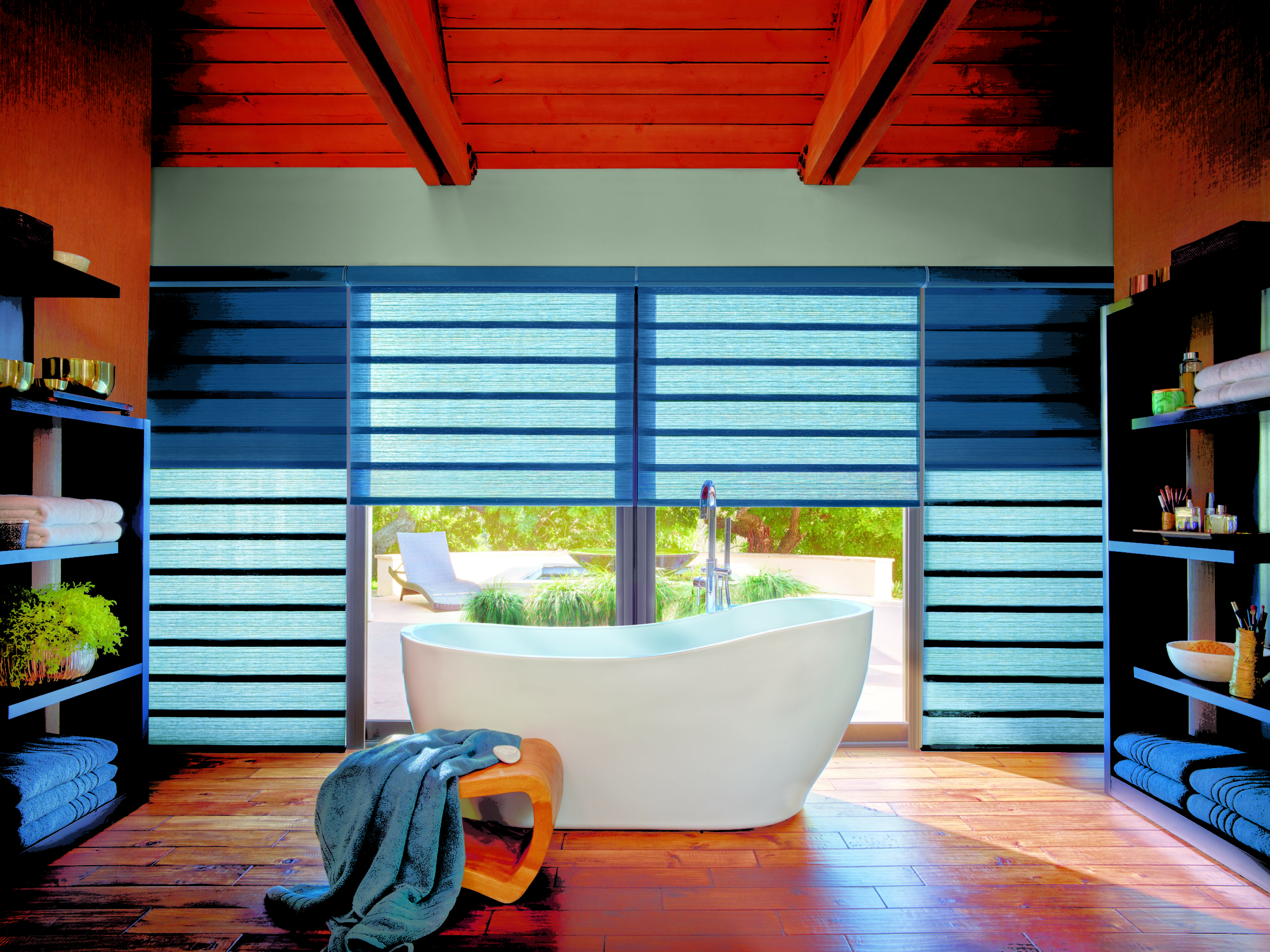 blue bathroom dual shades Hunter Douglas Minneapolis