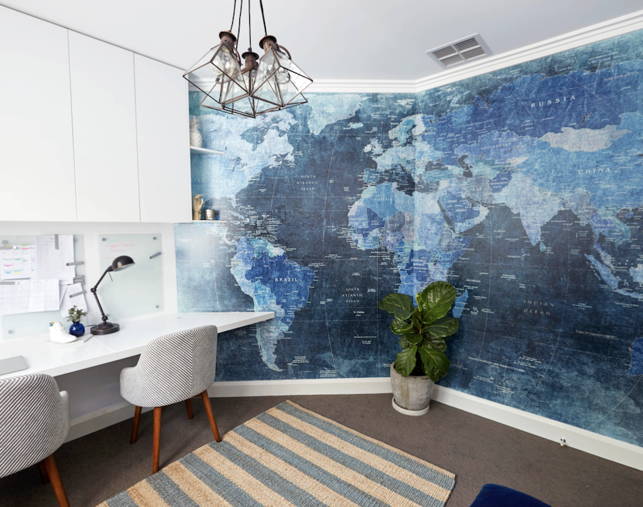 world map mural in shades of blue