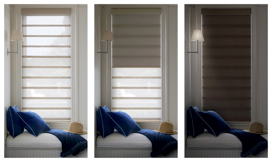 Minneapolis home with dual shades, window covering innovations.