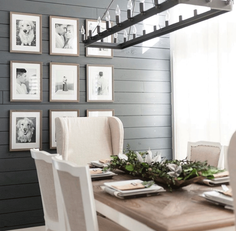 Dark shiplap is an eye catcher in this dining room.