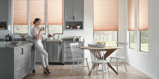 In this together, window shades in kitchen make the lighting perfect.
