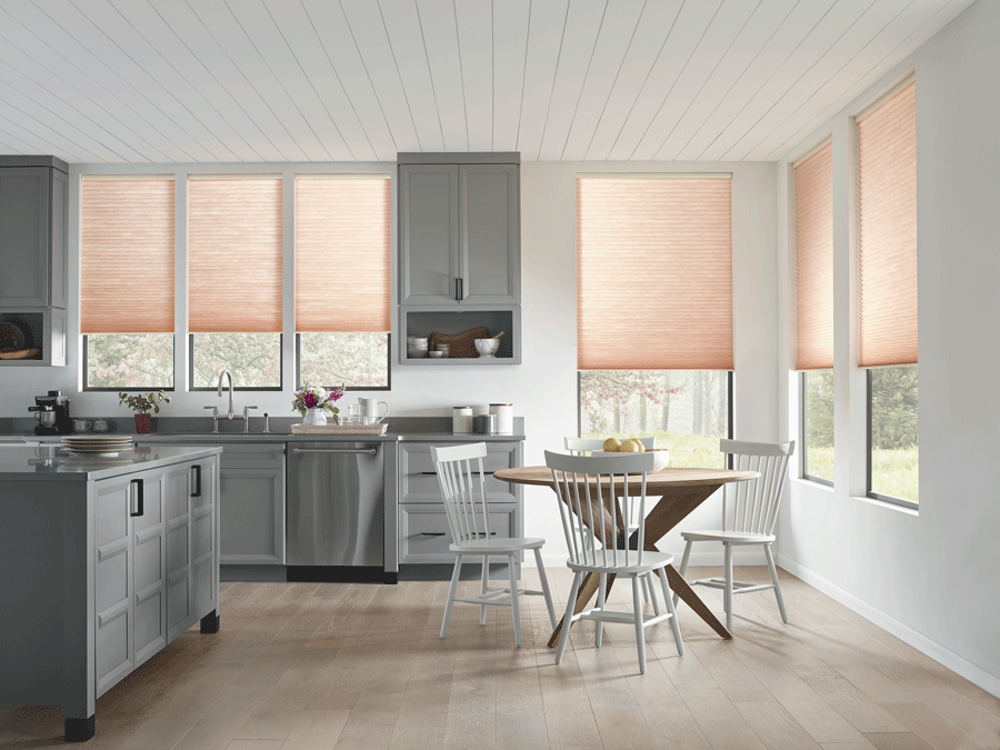 Kitchen with window treatments to rid the glare.