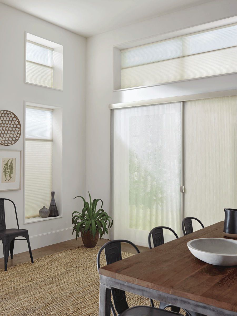 Dining room with some of the best window treatments for doors.