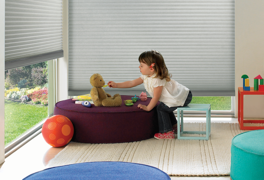Playroom with Hunter Douglas Duette Cellular Shades.