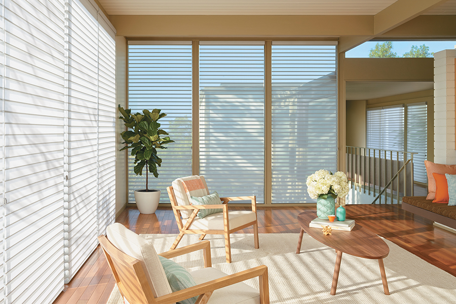 Sheer shades help block unwanted light while allowing you to enjoy the view.