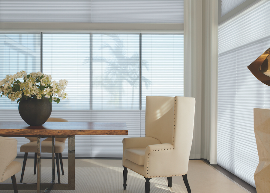 dining room with neutral decor duolite® cellular shades in Minneapolis MN home