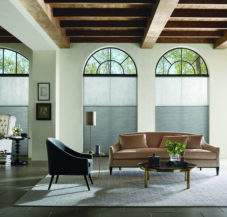dining room arched windows neutral honeycomb shades with duolite® dual shades Minneapolis MN