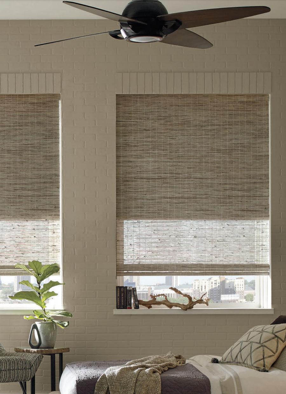 bedroom organic textures bohemian minimalist provenance woven shades