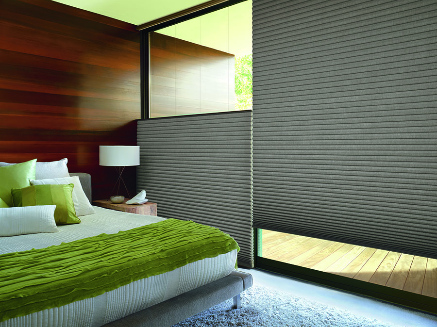 Bedroom featuring top down shades for added privacy and light control.
