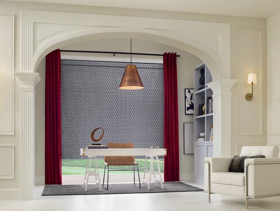 Designer Roller Shades in a home office with red draperies in favorite design picks