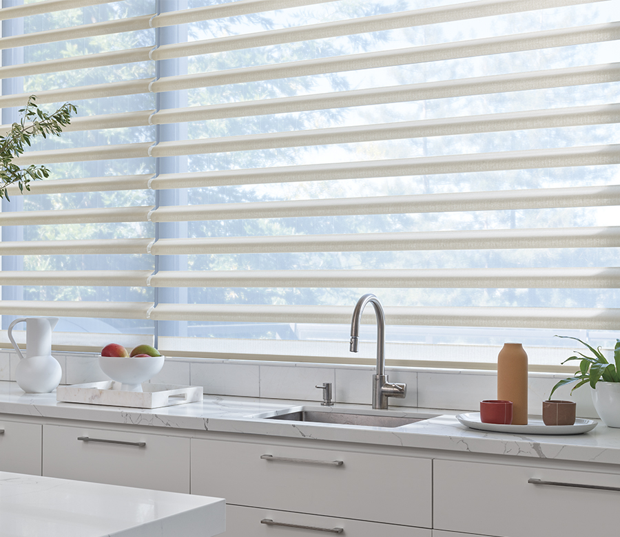 pirouette sheer shades above kitchen sink in St Paul MN
