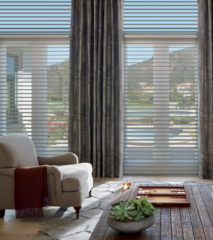 living room floor to ceiling blinds on tall windows silhouette shades with draperies in Little Canada MN