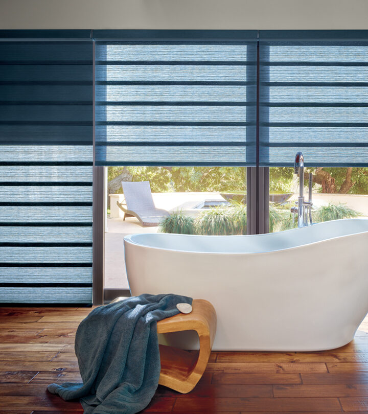 bathroom window coverings for large windows with blue roman shades in St Paul MN