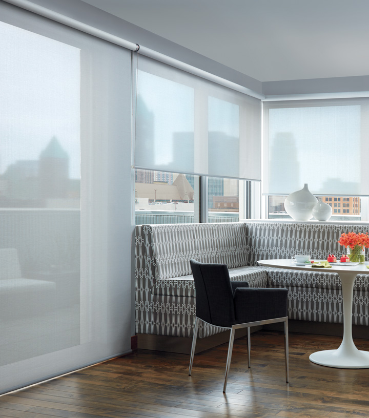 cover glass doors with roller shades in condo in St Paul MN