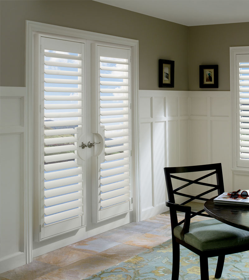 custon newstyle shutters on french doors with handle cutouts St. Paul MN