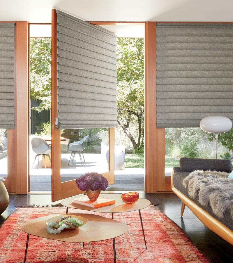 custom roman shades cover glass doors in Maple Grove MN