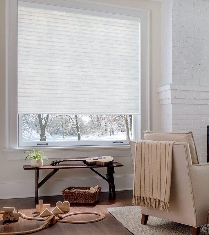 white cellular roller shades in Burnsville MN living room