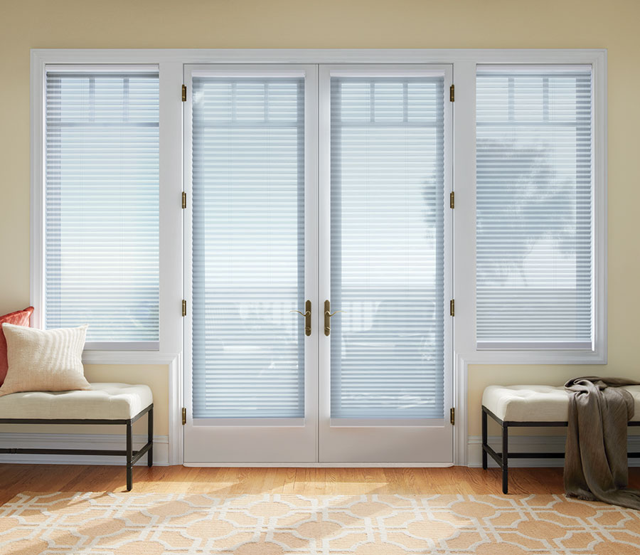 french doors with white cellular shades to see through in Maple Grove MN