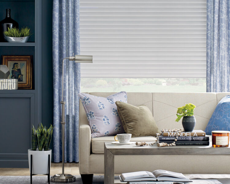 living room with layered shades and draperies in St Paul MN