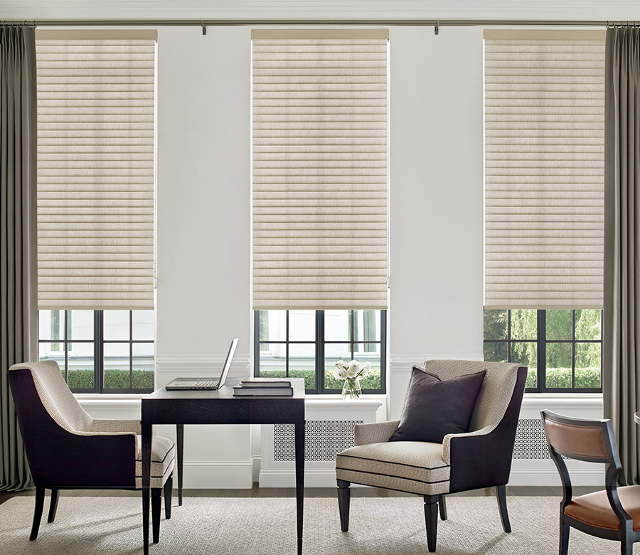 beige cellular roller shades with drapery panels in Maple Grove MN