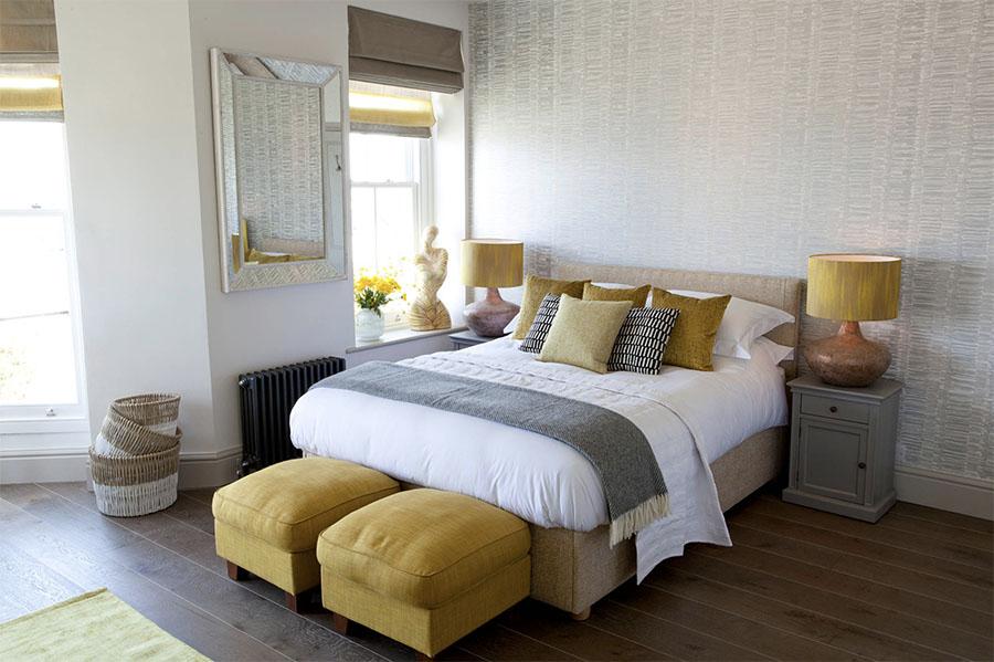 yellow gray master bedroom St. Paul, MN