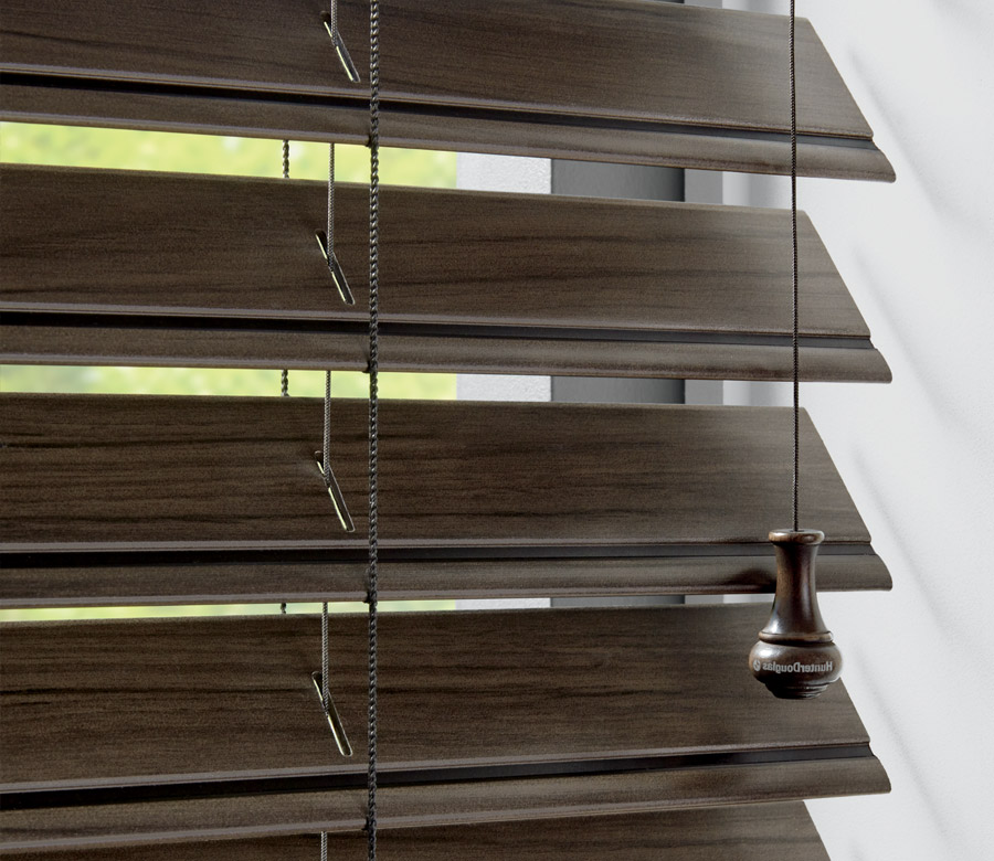close up of dark faux wood blinds in Burnsville MN