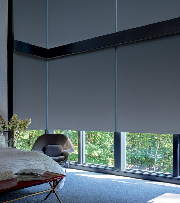 bedroom with blackout shades and room darkening blinds in Maple Grove MN