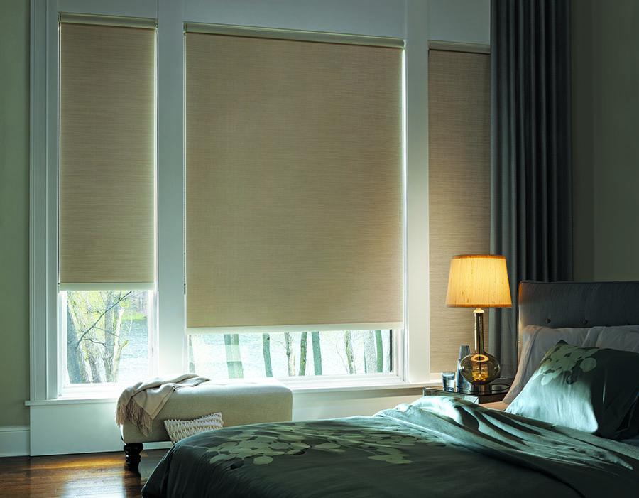 room darkening designer roller shades in bedroom of Minneapolis MN home