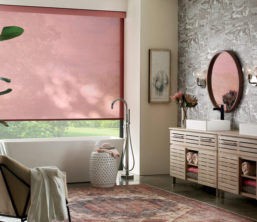 designer red shades in bedroom of Minneapolis MN home