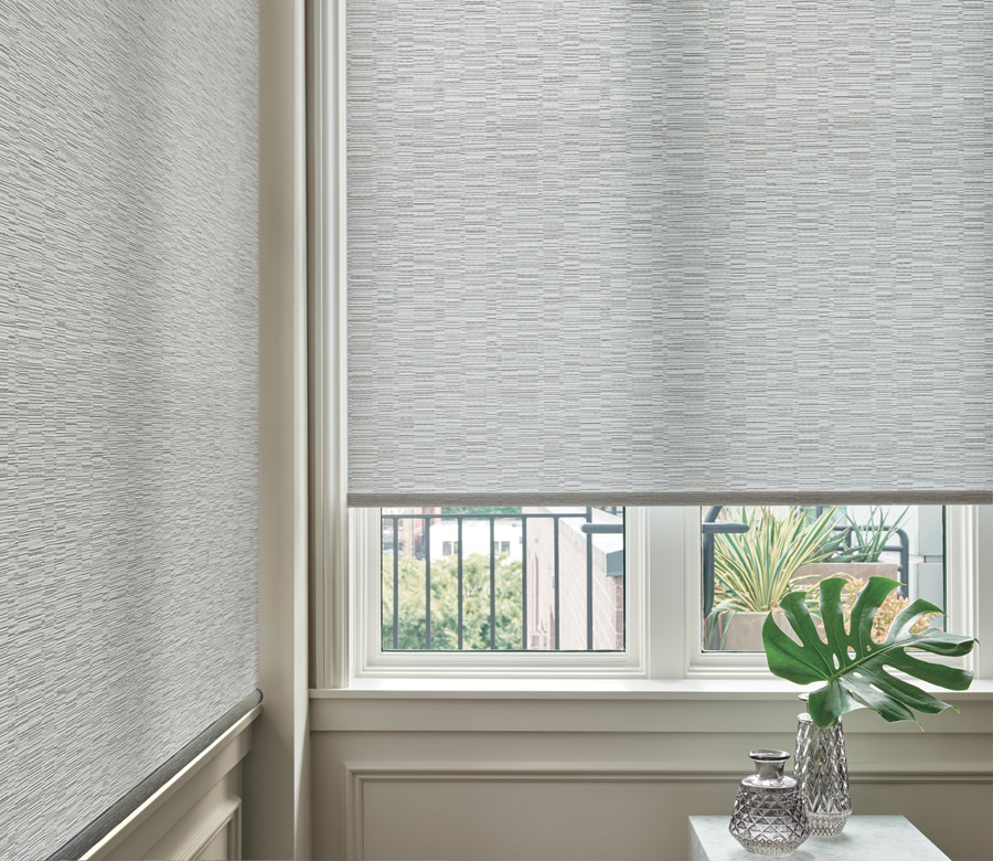 close up textured Roller shade in St. Paul MN home