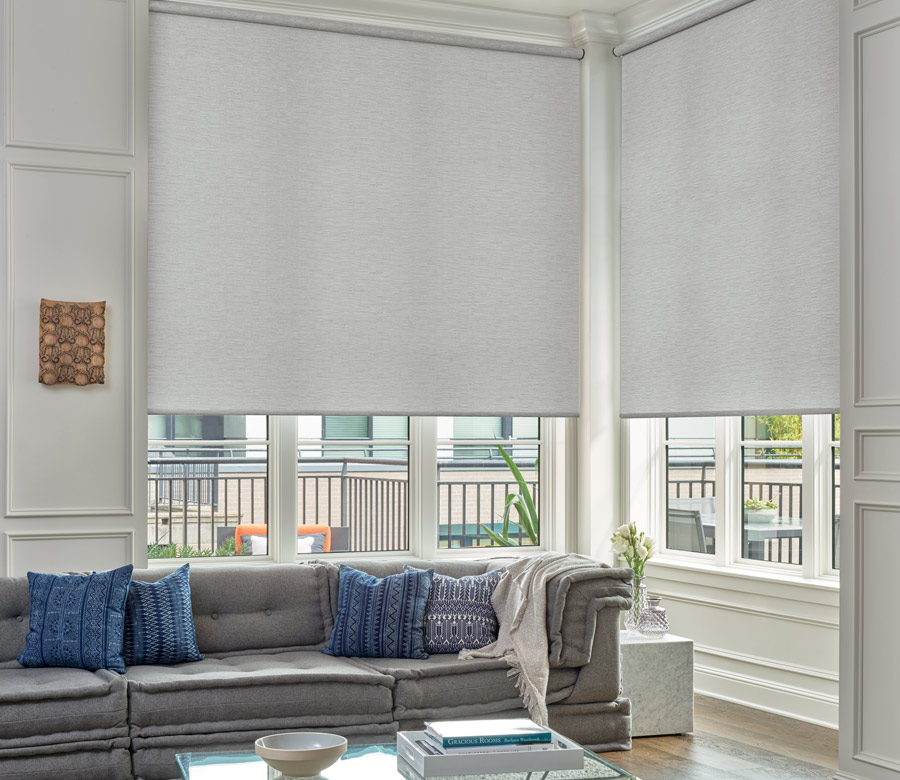 textured roller shades in living room in St. Paul MN