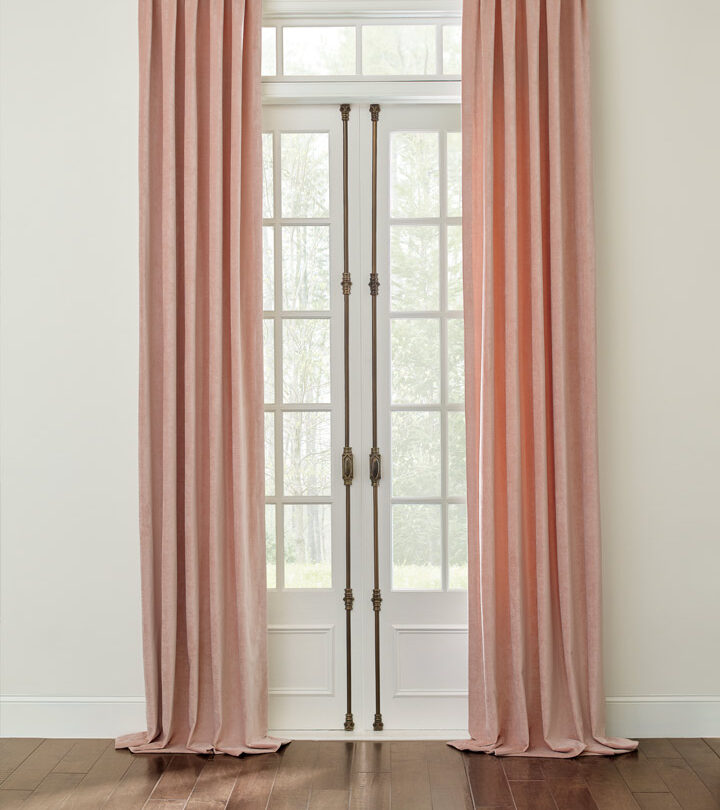 french doors with ceiling height draperies in Maple Grove MN
