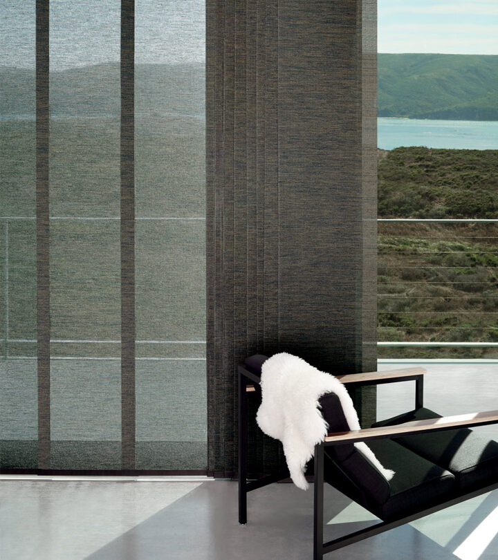 sliding glass door window treatments that glide open as wide panel track blinds in Little Canada MN