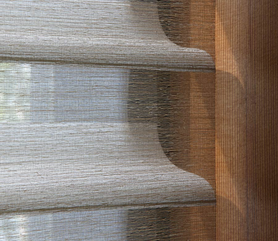 closeup of fabric shades in Minneapolis, MN home