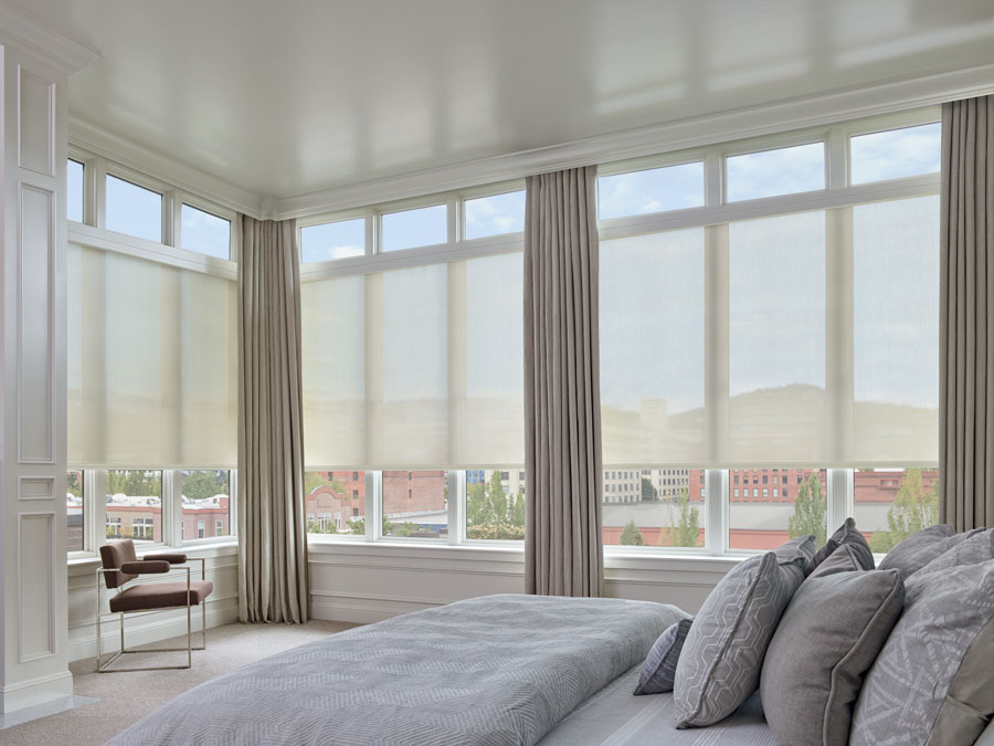 floor to ceiling windows with designer screen shades St. Paul, MN