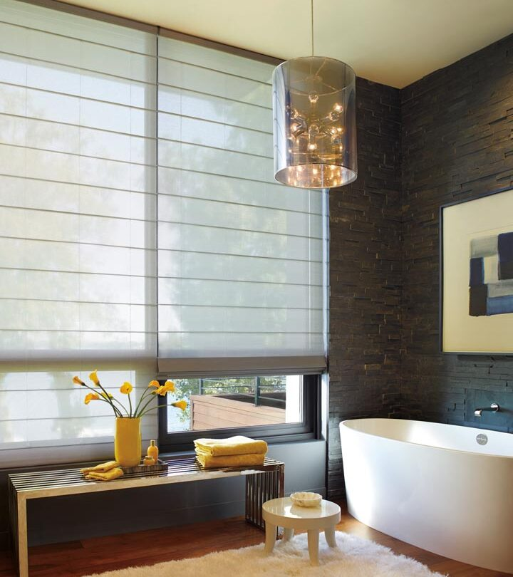 floor to ceiling blinds on bathroom window with large sheer roller shades in Maple Grove MN