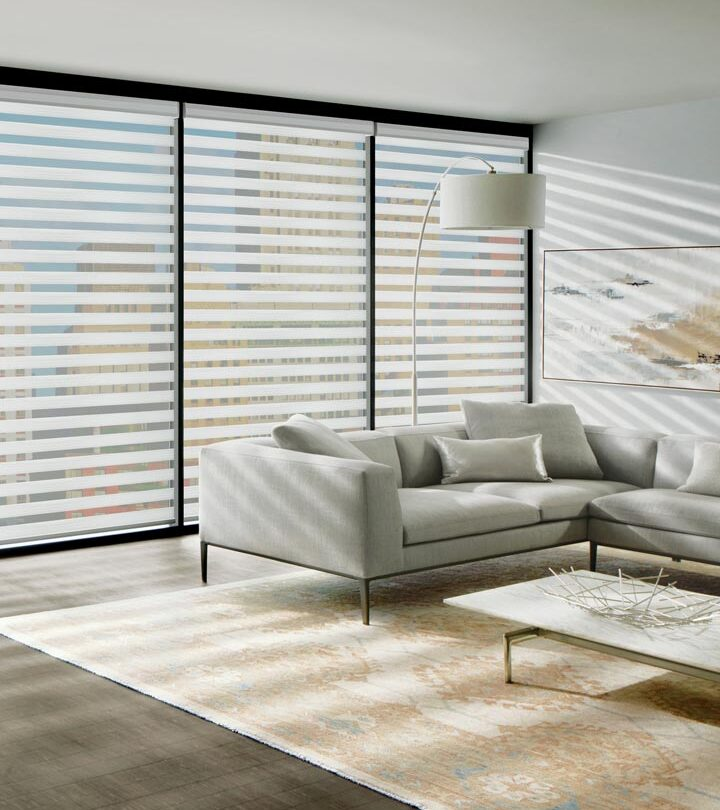 banded roller shades as window treatments for large windows in St Paul MN