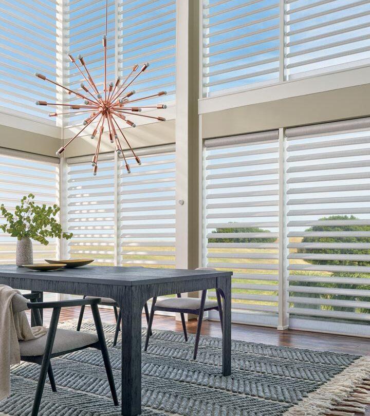 floor to ceiling blinds on dining room windows in Burnsville MN
