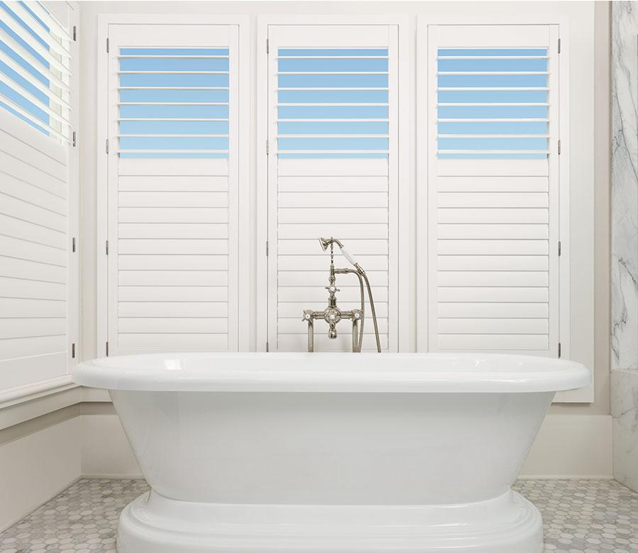 Bathroom view palm beach shutters in St. Paul MN home