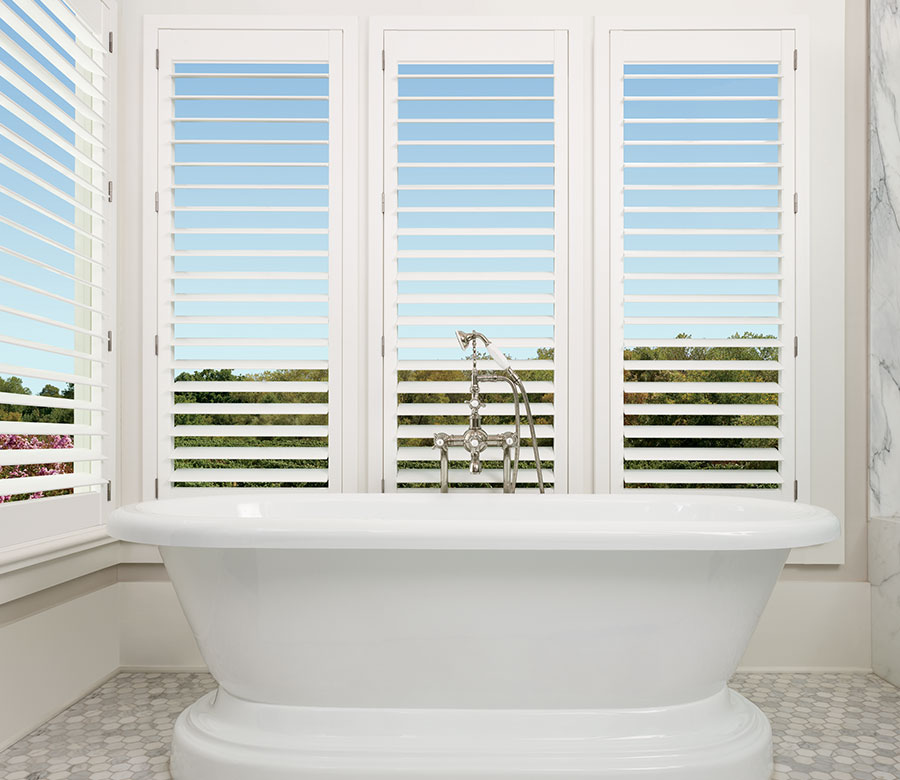 open landscape view with shutters in bathroom of St. Paul MN home