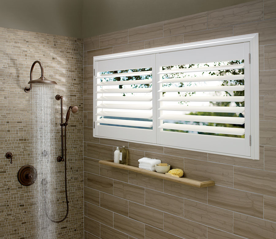 open view in shower of shutters in Minneapolis home