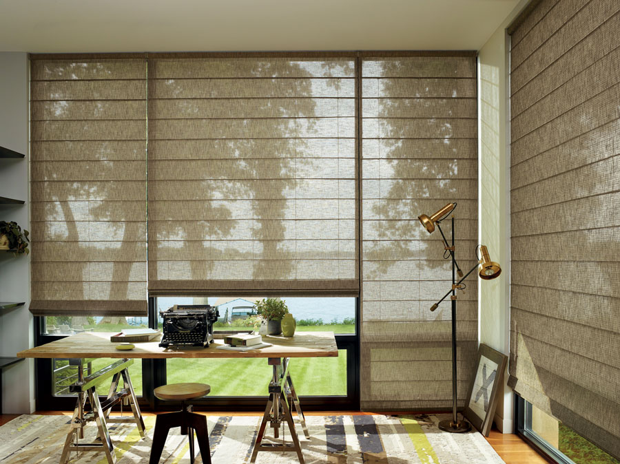 automated alustra fabric blinds in office of st. paul home