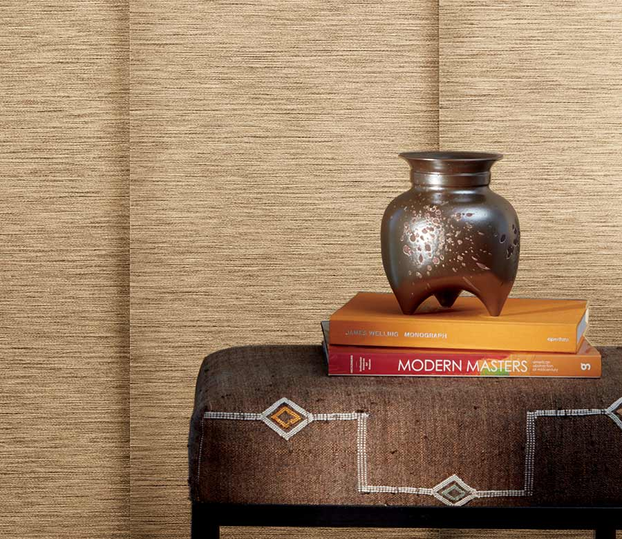 close up of camel colored vertical blinds in Minneapolis MN