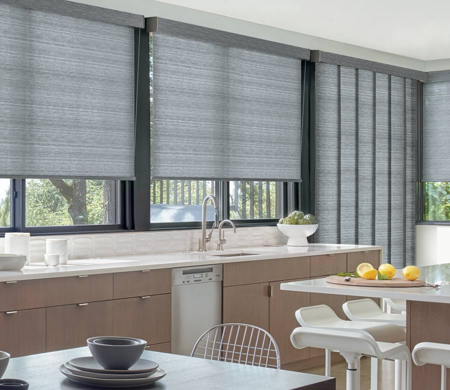 gray roller shades on kitchen windows with matching vertical shades covering door in St Paul MN