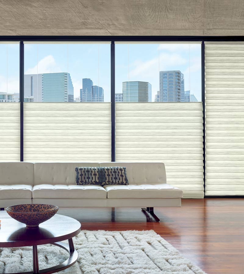 downtown condo with wall of windows covered with floor to ceiling roman shades in top down position for privacy