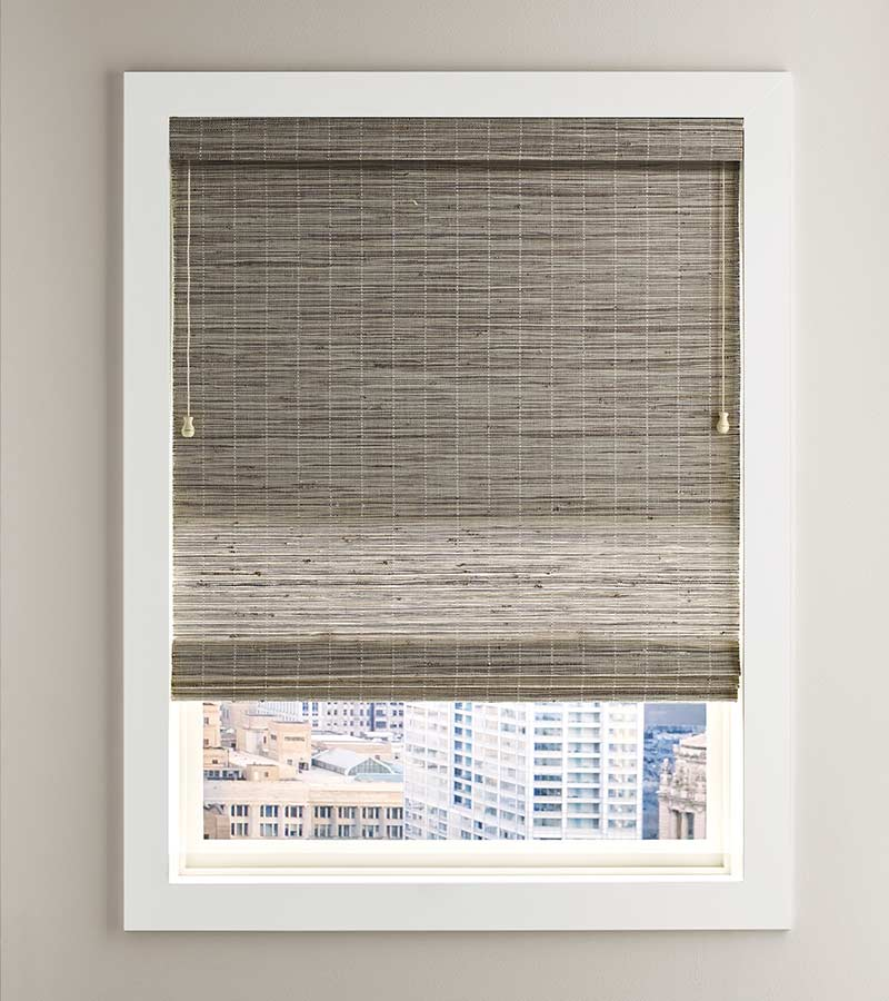 white framed window overlooking city with fabric shade in greige St. Paul 55113