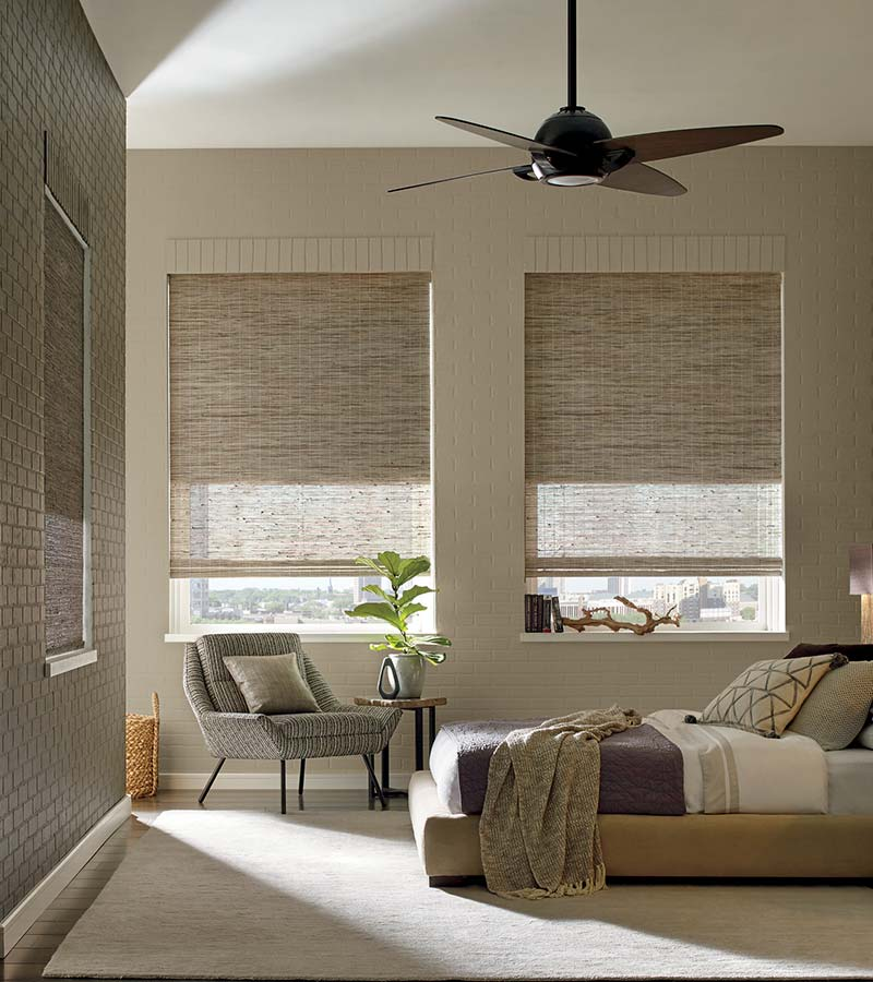 beige bedroom with woven wood shades in Maple Grove 55369
