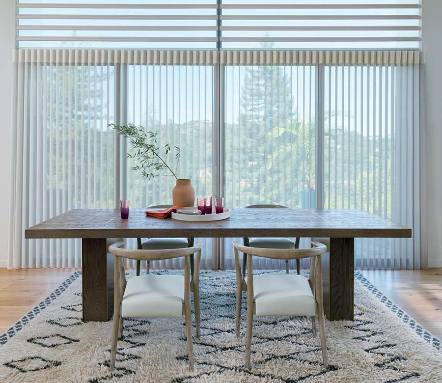 modern dining room in Maple Grove 55369 with vertical privacy sheers large dining room table