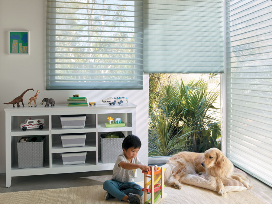 child's playroom with large windows covered with sheer shades in St Paul MN