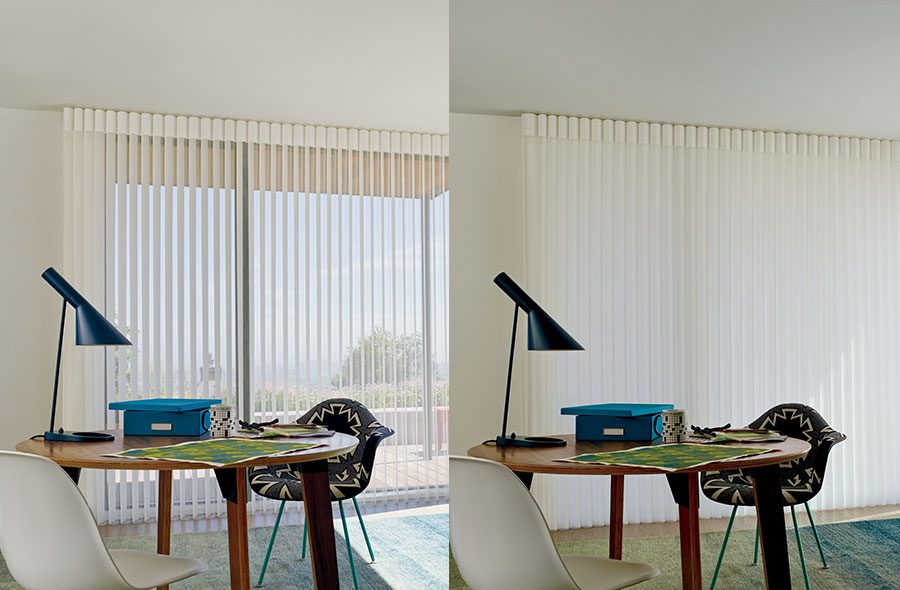 sheer vertical window treatments open and closed comparison in Little canada MN